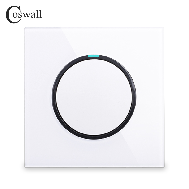 Coswall New Arrival Crystal Glass Panel 1 Gang 2 Way Random Click Push Button Wall Light Switch With LED Indicator