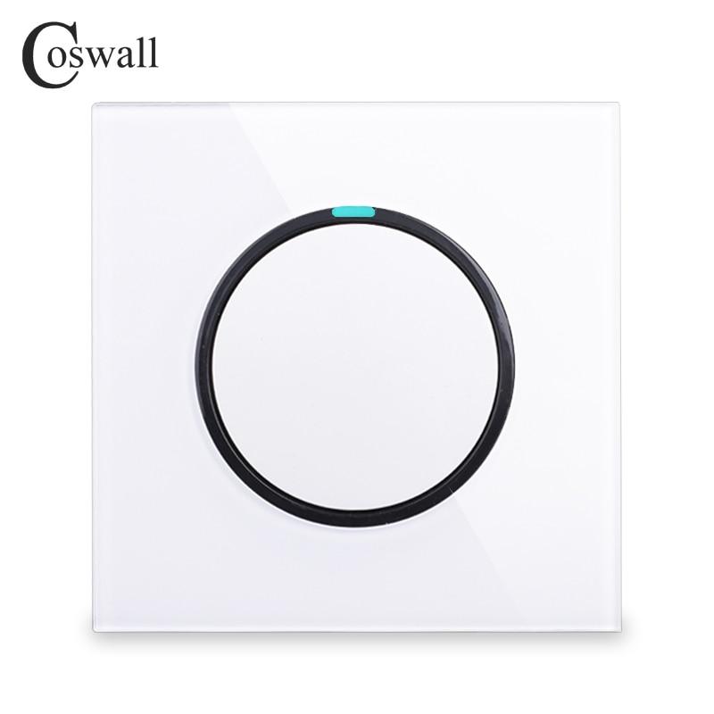 Coswall nuevo Panel de cristal de llegada 1 Gang 2 Way botón de presión aleatorio interruptor de luz de pared con indicador LED