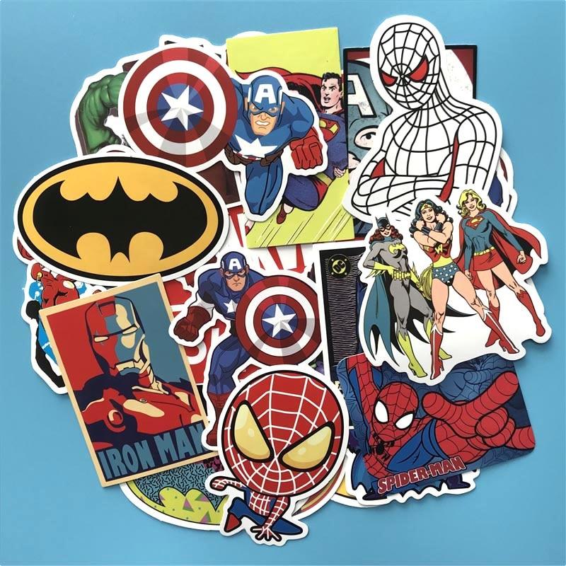 SW 50 pcs Superhero waterproof Stickers wallpaper Decal Motorcycle Fridge Skateboard Doodle Funny Sticker for Auto Laptop Trunk