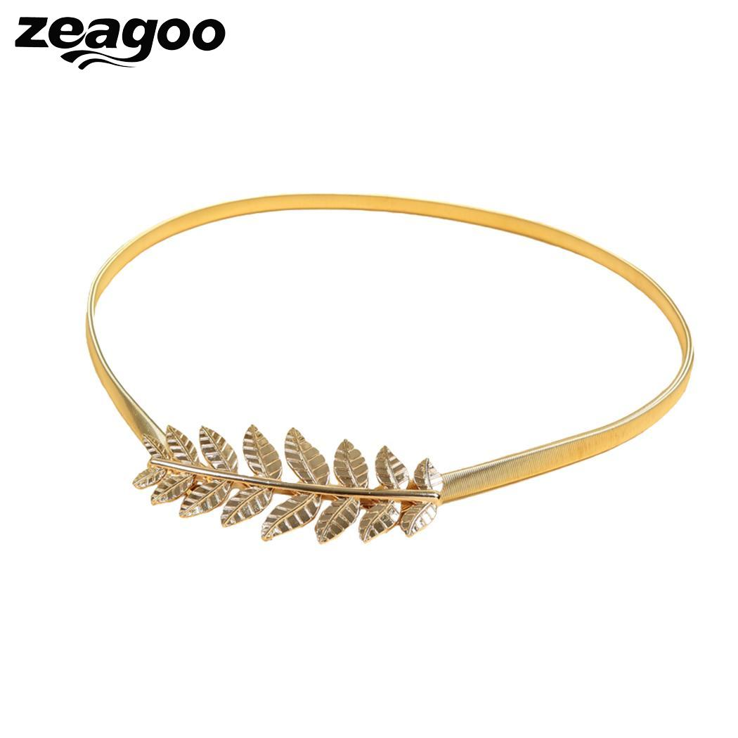 Zeagoo Gold Ladies Fashion Unique Leaves design Metal Elastic Waist Stretch Skinny Belt Cummerbunds Metal Wedding Female Belts