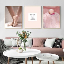 Modern Ballet Dance Inspiring Dreams Quotes Poster Print Canvas Paintings POP Wall Art Pictures Gifts Kids Room Decor
