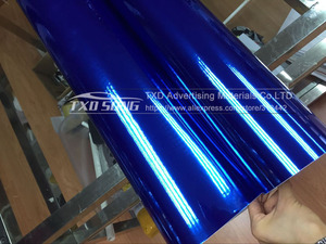 Image 5 - 50CM * 100/200/300/400/500 CM/Roll גבוהה stretchable כהה כחול כרום מראה ויניל לעטוף גיליון רול סרט רכב מדבקת מדבקות גיליון