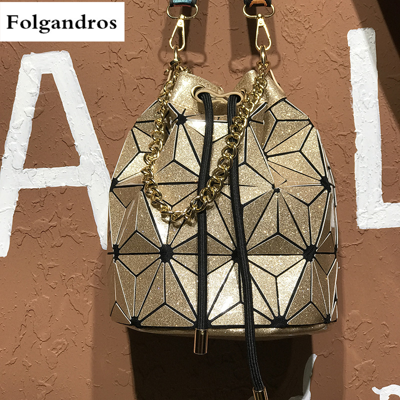 Female Folded Geometric Plaid Bag Luminous Bucket Bag BAO BAO Fashion Casual Tote Women Handbag Bucket Chain Shoulder Bag Bolsas baobao bag women folded geometric plaid bag bao bao fashion casual tote women handbag mochila shoulder bag top handle sac a main