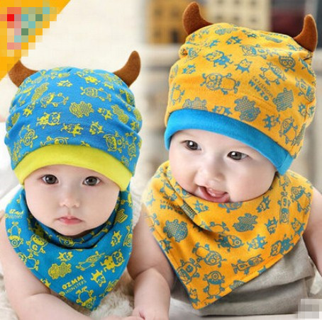 2015 fashion cute baby 4 colors small monster horns cap triangle