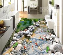 3 d pvc flooring waterproof wall paper  Rock creek park carp 3 d bathroom flooring murals photo wallpaper for walls 3d все цены