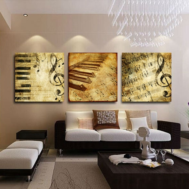 Hd Printed Canvas Poster Framework Home Living Room Wall Art 4 Pieces Classical Piano Music Notes Painting Modular Picture