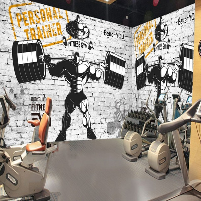 custom wall mural Custom Nostalgic retro sports fitness club