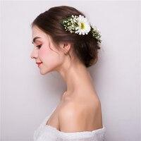 Artificial Daisy Flower Barrettes Hair Clips Bridal Bridesmaids Wedding Hairgrips Headdress Ornaments Girls Party Headpiece Gift
