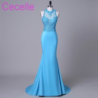 Blue Mermaid Long 2018 Prom Dresses Sleeveless Lace Top Jersey Skirt Teens Girls Formal Evening Party