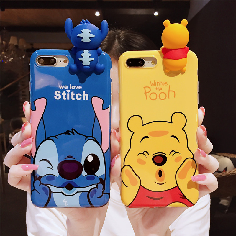 For iPhone X Cute 3D Stitch Cases For iphone 8plus 8 7 7plus 6 6s 6plus Cartoon blue ray winnie Soft back cover girl pink case