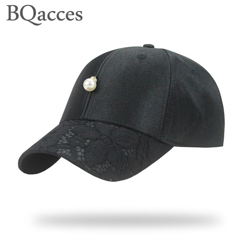 baseball cap with adjustable cotton strapback pearl lace brim cap bone gorras women men summer sun hat truck BQacces new fashion