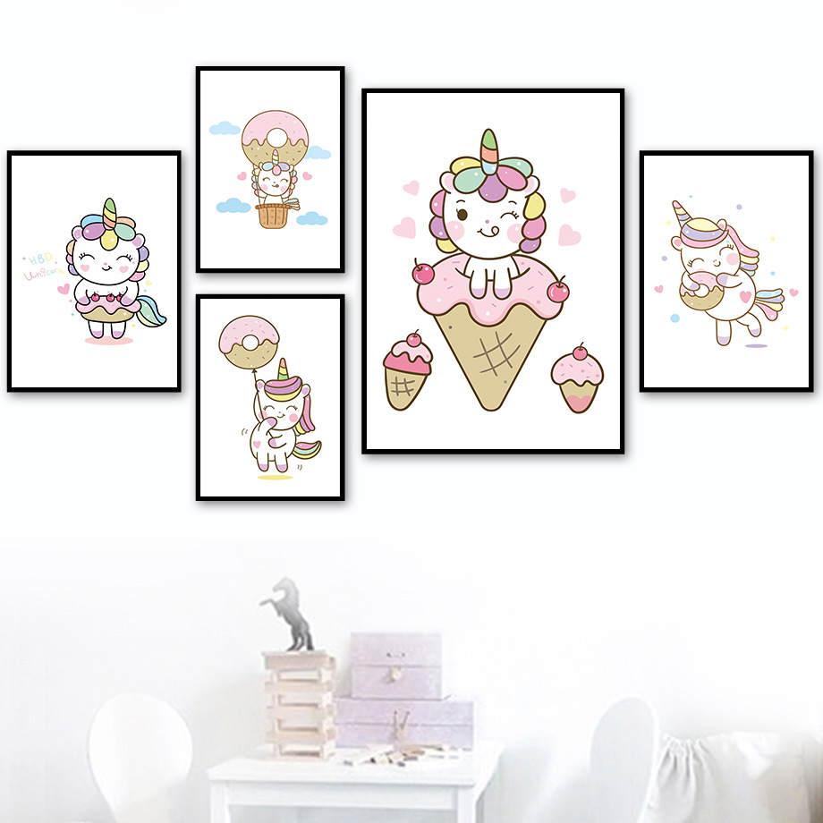 Baby Unicorn Posters and Prints Cartoon Animals Canvas Painting Modern Wall Art Pictures For Nursery Kids Bedroom Home Decor
