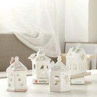 Decoración moderna Casa de Miniaturas de Amantes de la Boda de Decoración Del Hogar Muebles de Figuras Modelo De Cerámica Luz de La Noche de Regalo de Navidad