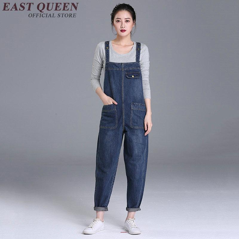 Casual womens jumpsuit long black denim jumpsuit slim dungarees bib overalls trousers pant plus size 5xl 6xl AA2916 YQ