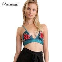 Missomo New Sexy Multi Color Bralette Cross Back Triangle Spaghetti Straps Lingerie Applique Floral Embroidery Female