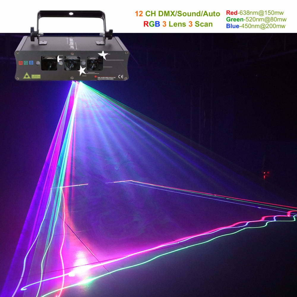 AUCD 3 Lens RGB Laser Scan Beam Line Lights DMX Sound AUTO Projector Lamp DJ