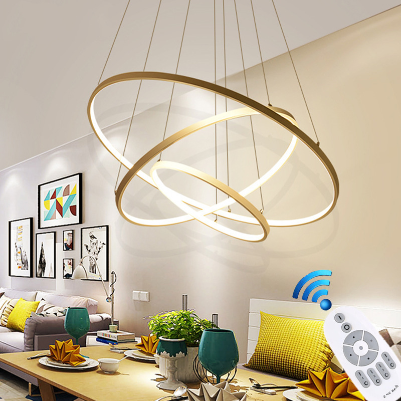 40 60 80 100cm Rings Modern LED Ceiling Lights For Living Dining Room Kitchen Lustre Led Hanging Ceiling Lamp Lighting Fixtures