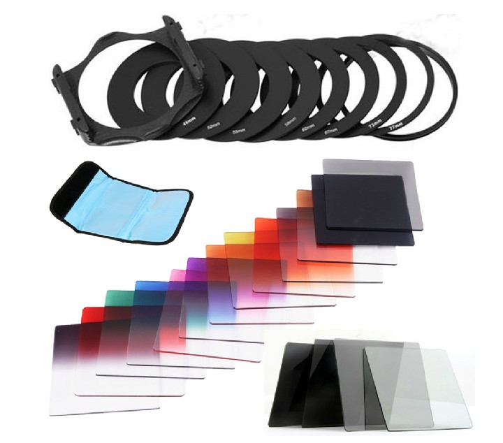 23 in1 ND16 Gradual ND2 4 8 Filter Set + 9pcs Ring Adapter 49 52 55 58 62 67 72 72 77 82for Cokin P For Canon Nikon Sony