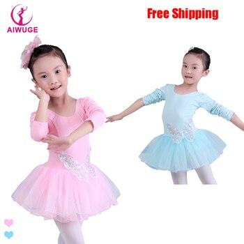 839fafeaf Niños algodón lentejuelas mariposa Ballet profesional tutú gimnasia  leotardo chica danza traje chaleco bebé tutú vestido