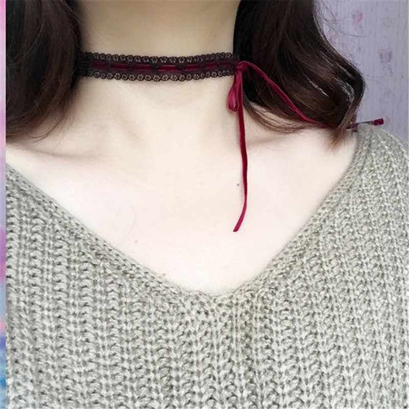 Popular novo design Sem Botões laço Colar preto wine red bow colar feito à mão para meninas presente porcelana