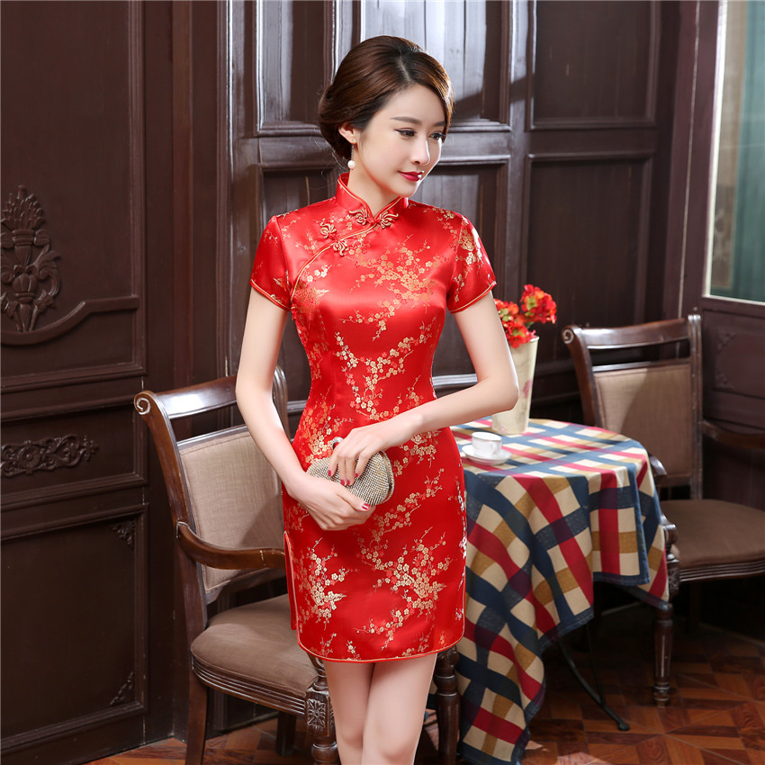 2020 New Red <font><b>Chinese</b></font> Women Traditional <font><b>Dress</b></font> Silk Satin Cheongsam Mini <font><b>Sexy</b></font> Qipao Flower Wedding <font><b>Dress</b></font> Size S M L XL XXL WC022 image