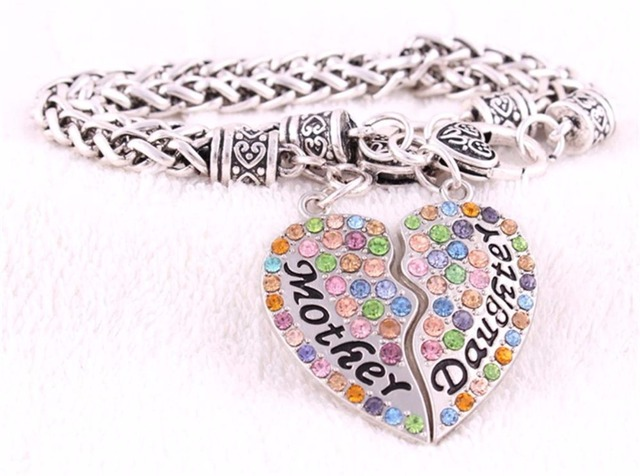 1 Set New Arrival Rhodium Plated Zinc Studded With Sparkling Crystal Mother Daughter Charm Bracelet Link