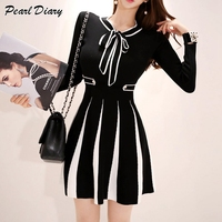 2019 New Fashion Knitted Dress Women Vintage Striped Fall Winter Bow Collar Slim Elastic A line Ladies Sweater Dress Vestidos