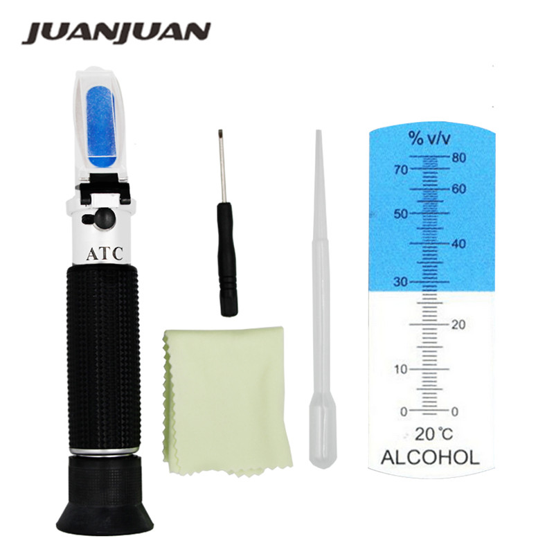 De mano portátil 0-80% de un alcoholímetro Alcohol refractómetro licor alcohol probador de contenido con ATC 39%