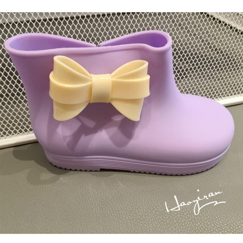 (5 Color) 2016 Mini Melissa ChildrenS Rain Boots Jelly Rain Boots New ChildrenS Bowtie Boots High Quality Melissa Sandals