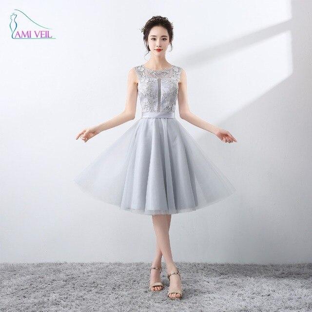 Neue Ankunft Formale Kleid Grau Spitze Abendkleider Spitze Kurze ...