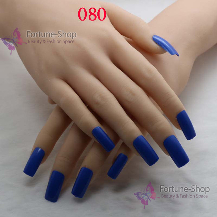 TKGOES 20pcs/pack Color Blue Fake Nails Acrylic Nail Tips Plastic ...