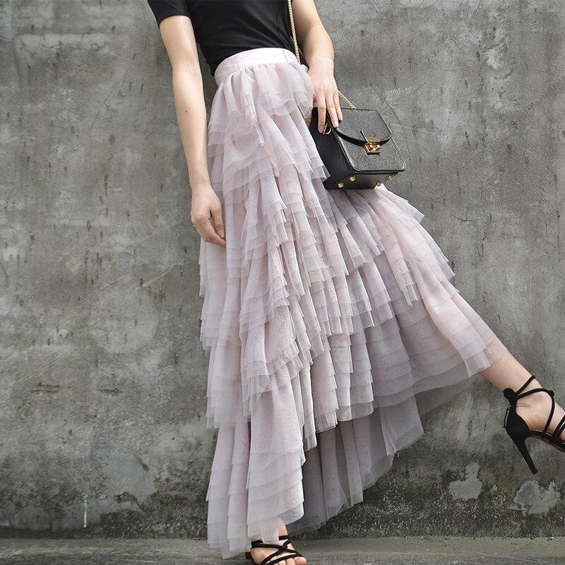 Новый летний марли слоеного пирога принцессы кружевная юбка слои тела неправильной розовая юбка