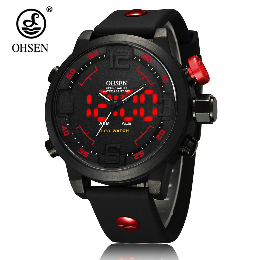 NEW OHSEN Digital Quartz Wristwatch Mens Male 50M Swim Sports Electronic Army Watches Reloj Masculino Hombre Clocks Montre Homme top brand ohsen fashion dual time led clock sports waterproof male watch digital anolog mens army wristwatch quartz montre homme