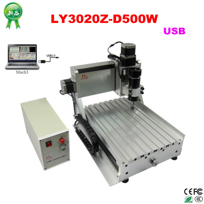 CNC Engraving Machine LY CNC3020Z-D500W USB 3axis CNC Wood Router machine for wood plastic aluminum carving ly cnc router 6090 l 1 5kw 4 axis linear guide rail cnc engraving machine for woodworking
