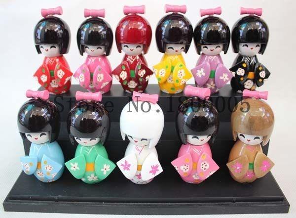 10pcs set 9 cm Wood CUTE Oriental Japanese KOKESHI Doll with KIMONO Figure doll girls kids