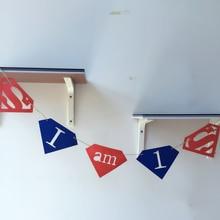 Freeshipping Superman Partys 3 Meter Felt Banner Diamond Flag Birthday Party Decoration Bunting supply fabric