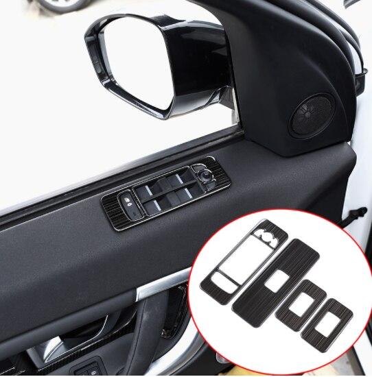 4 pièces acier inoxydable noir brossé voiture porte lève-vitre bouton de commutation cadre couvercle garniture pour Land Rover découverte Sport 2015-2017