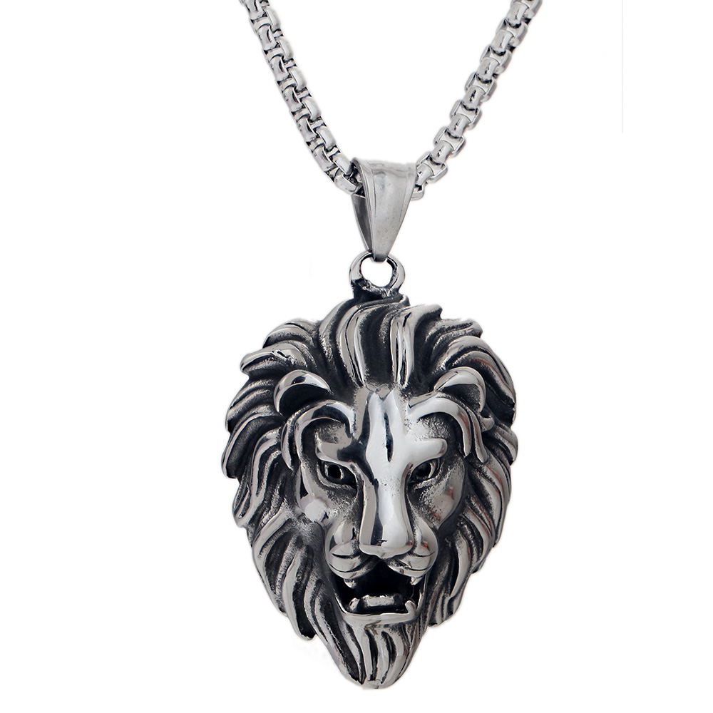 Hip Hop Lion Head Pendant Necklace For Men Luxury Stainless Steel Male Jewelry Friendshi ...
