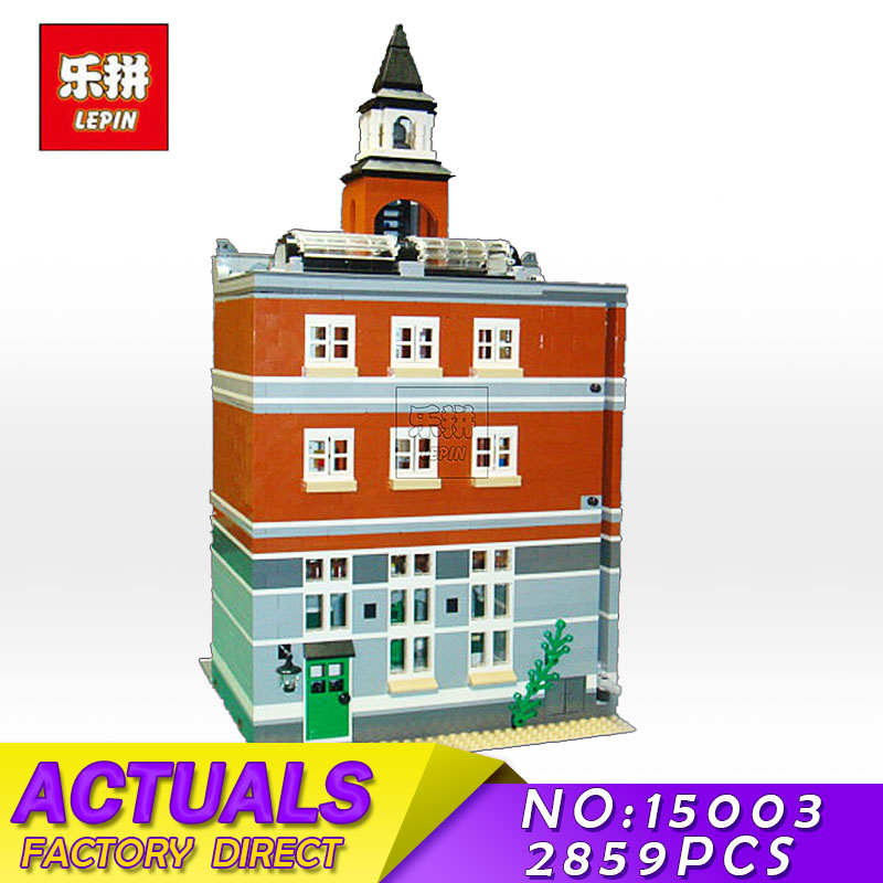 LEPIN 15003 2859Pcs City Creators The Town Hall Model Street Building Blocks Bricks Kits Christmas Children Toys GiftS 15004 free dhl shipping lepin 15003 new 2859pcs creators the town hall model building kits blocks kid toy gift