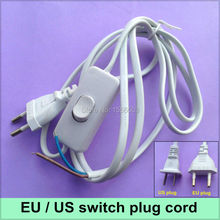 1X Switch on line Cable 1.8m On Off Power Cord For LED Lamp with Switch US EU Plug Light Switching White Wire Extension
