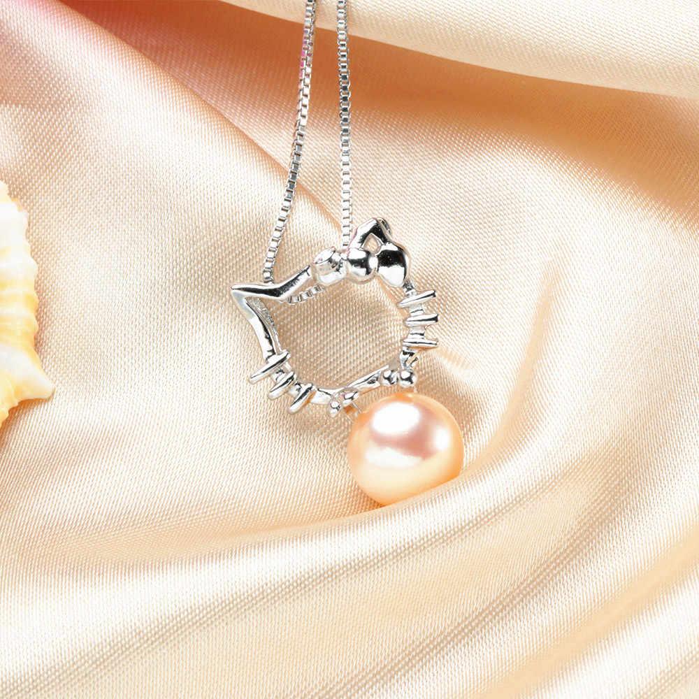 Детский натуральный пресноводный жемчуг бисер Hello Kitt, ожерелье, серьги, серебро 925 пробы, ювелирный набор, детский подарок на вечеринку