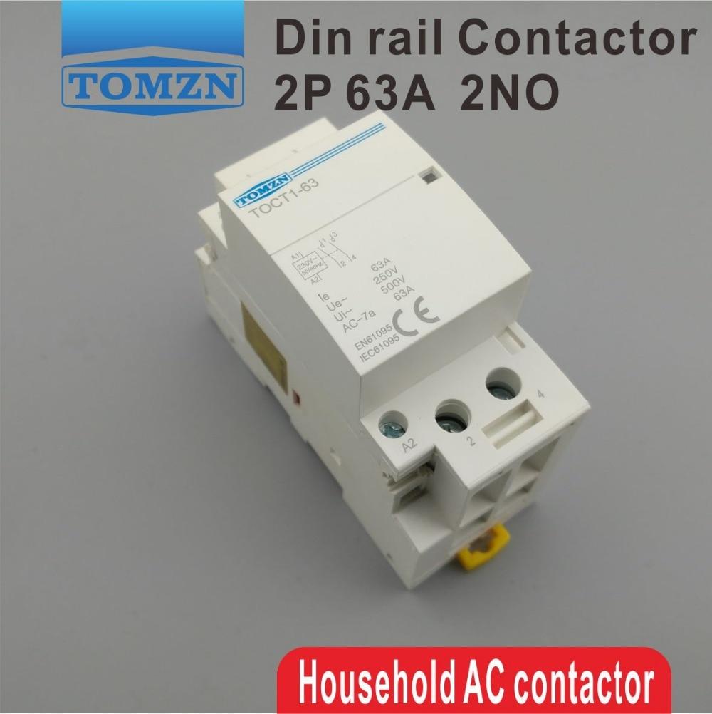 CT1 2 P 63A 220 V/230 V 50/60 HZ rail Din Ménage ac contacteur Modulaire 2NO ou 2NC ou 1NO 1NF
