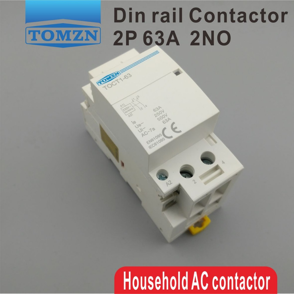 TOCT1 Американская классификация проводов 2р 63A 220 V/230 V 50/60 HZ Din rail бытовой ac Контактор В соответствии с стандартом 2NO или 2NC или 1NO 1NC