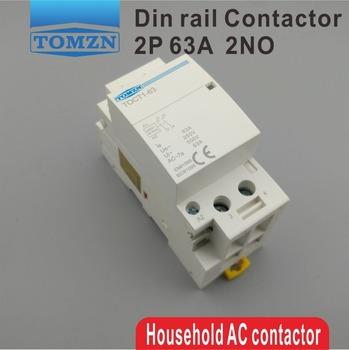 TOCT1 2P 63A 220V 230V 50 60HZ na szynę Din gospodarstwa domowego ac stycznik modułowy 2NO lub 2NC lub 1NO 1NC tanie i dobre opinie TOMZN Other CT1-63-2P