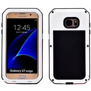 Image 2 - Su geçirmez darbeye dayanıklı telefon kılıfları Samsung Galaxy S6 S6edge S7 S7Edge ARTı NOTE4 5 Metal Alüminyum Sağlam Temperli cam kapak