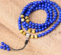 Diseñador tibetana Mala genuinos Lapis Lazuli Mala de los granos del rosario tibetano budista oración 108 cuentas 925 Guru Guru