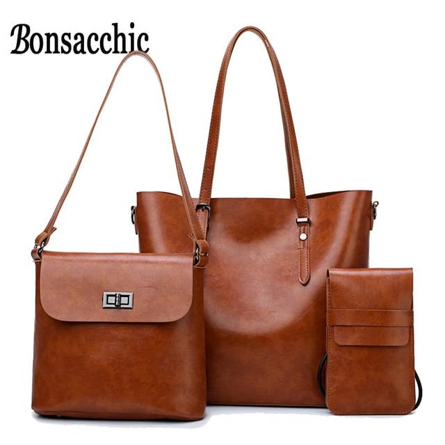 97b9e071d25 Bonsacchic 3pcs Large Female Bag Set Women Leather Bag Handbag Women Famous  Brand Purses and Handbags Ladies Shoulder Bag Wallet