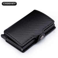 Carbon Fiber Leather RFID Wallet with Credit ID Holder Card Men's Pocket Holder Wallet with Anti-theft Function Women Coin Case