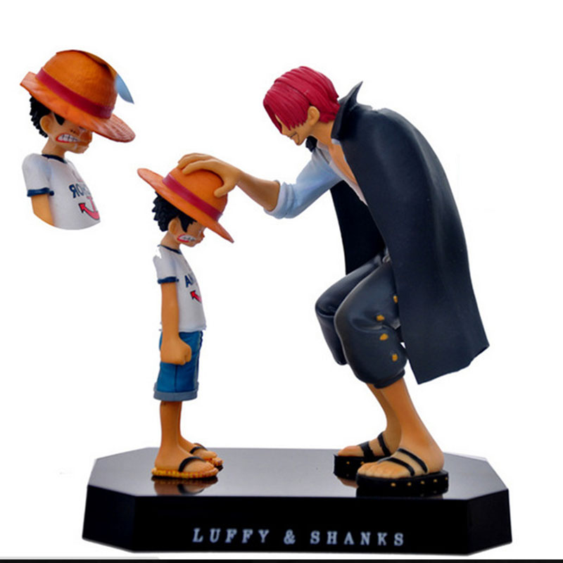 17.5cm One Piece Action Figures Anime Straw Hat Luffy Shanks Red Hair Ornaments Gift Doll Toys Child Models Pvc Collection 30