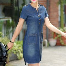 2018 new arrival plus sizes v-neck solid denim dresses summer women denim dresses short sleeves loose A word dresses 176A 25